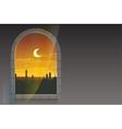 month ramadan moon over minarets template vector image vector image