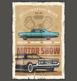motor show retro poster with old vintage vehicles vector image vector image