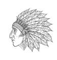 native american indian chief head profile vintage vector image vector image
