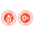 non alcoholic round icon stamp zero alcohol sign vector image vector image