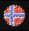 norway flag sparkling badge vector image vector image