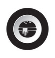 round black white icon - hamburger with cheese vector image