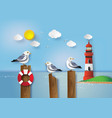 seagull standing on a wooden vector image vector image