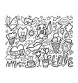 set of cute doodle modern elements vector image vector image