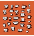 Set of ornate mugs Sketch for your design vector image vector image