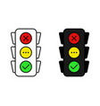 set of traffic light in line and flat design on vector image
