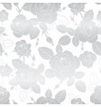 silver roses repeat seamless pattern vector image vector image