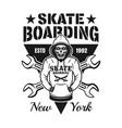 skeleton in hoodie skateboarding emblem vector image
