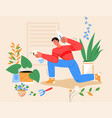smiling man planting houseplant at home watering vector image
