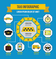 taxi infographic concept flat style vector image
