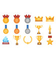 trophies and medals award prize flat icon vector image