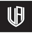 va logo monogram with emblem shield design vector image vector image