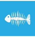 white fishbone on blue background vector image