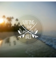 White surfing camp logo on blurred ocean sunrise vector image vector image