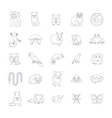 Animals pets flat thin line icons set vector image vector image