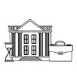 bank building with briefcase and hourglass black vector image vector image