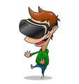 boy wearing vr headset having fun vector image