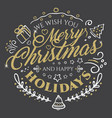 calligraphic lettering for merry christmas vector image