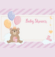 card teddy bear with crown and balloons vector image vector image