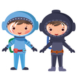 cartoon astronaut and diver vector image vector image
