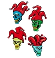 Cartoon clown and joker skulls vector image vector image