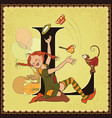 children book cartoon fairytale alphabet letter l vector image
