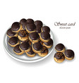 chocolate profiteroles or profitroli sweet dessert vector image
