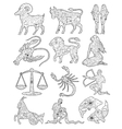 Coloring set zodiac signs vector image vector image