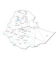 Ethiopia Black White Map vector image