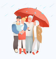 family concept elderly and young parents vector image vector image