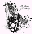 fashion with hand drawn detailed running horse vector image