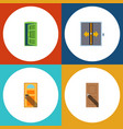 flat icon door set of lobby frame exit and other vector image