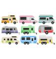 flat set of classic camper vans and vector image