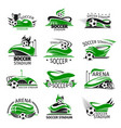 football isolated icons of soccer arena vector image vector image
