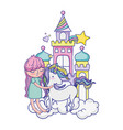 girl with unicorn in the castle with clouds and vector image vector image