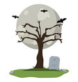 halloween night scenery vector image
