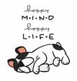 happy mind happy life french bulldog sleeping cart vector image vector image