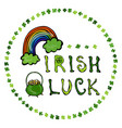 irish luck logo with rainbow and pot of gold in vector image vector image