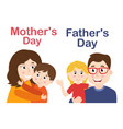 isolated mother with son and father with daughter vector image
