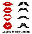 ladies and gentlemen bathroom symbols stock lips vector image vector image