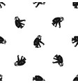 macaque pattern seamless black vector image vector image