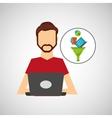 man beard working laptop data analytics