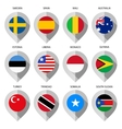 Marker from paper with flag for map - set third vector image vector image
