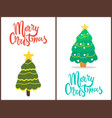 merry christmas trees set vector image