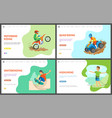 motorbike and quad bike hobby skating web set vector image vector image