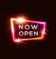 now open neon sign on dark red background vector image