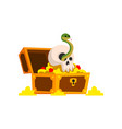old pirate treasure chest with golden coins and vector image