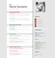 professional personal resume cv with light gray vector image