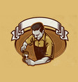 retro design barista making the coffee latte vector image vector image