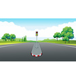 Scene with empty road and traffic light vector image vector image